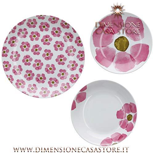 Rose&Tulipani Tafelservice 18-teilig Gallipoli bestehend aus 6 Speisetellern + 6 Suppenteller + 6 Porzellanteller