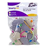 SmartyKat, Skitter Critters Value Pack, Soft Plush Cat Toys, Mouse Toy with String Tail, Catnip Filled, Pure, Potent, 10 Piece
