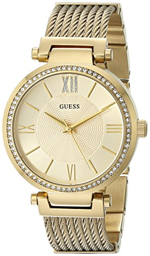 GUESS  Gold-Tone Stainless Steel Crystal Bangle Bracelet Watch with Self-Adjustable Links. Color: Gold-Tone (Model: U0638L2)