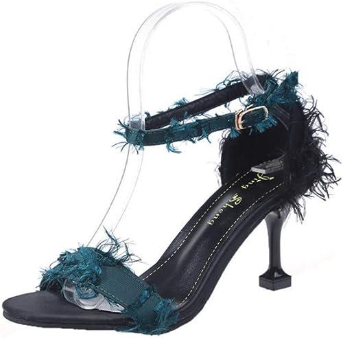 Sandales Eté Fine avec Wild Sexy Chaussures à Talons Hauts Bleu