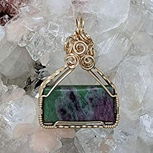 Sterling Silver Wire Wrapped Ruby Zoisite Rectangle Pendant