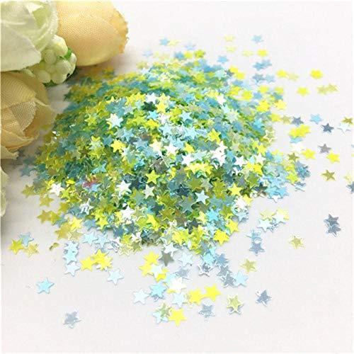 Mix kleur ster hart sequin 3mm ultra dunne glitter pvc losse pailletten voor nagel manicure bruiloft decor confetti 10 / 20g, ster blauw geel, 3mm 10g