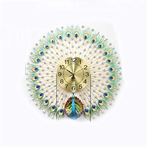 Gran reloj de pared de pavo real, metal, cristal de lujo, plata,...