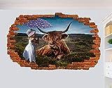 Pegatinas De Pared Bebé Niña Con Paraguas Arte De La Vaca Pegatinas De Pared Decoración De La Habitación Calcomanías Mural