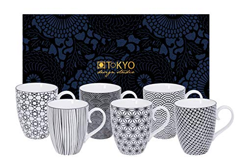 TOKYO design studio, Nippon Black, 6 Tassen Set in dekorativer Geschenkbox, Porzellan Geschirr, 380ml