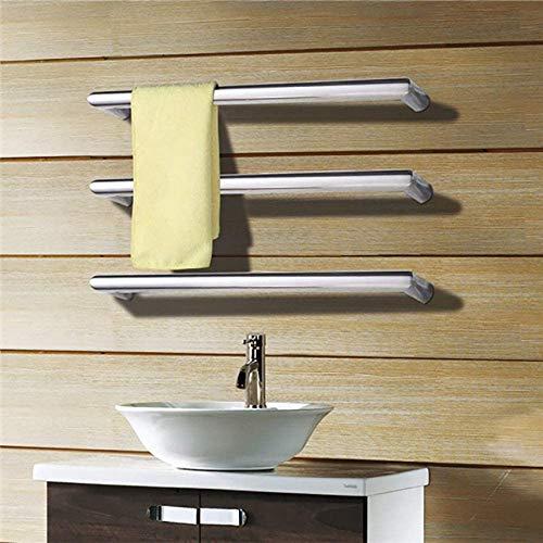 KAUTO Elektrischer Handtuchhalter, 45 ° C beheizte Handtuchhalter für frei montierte Handtuchheizung aus Edelstahl in matt/poliert für die Verbesserung der Duschwanne in der Toilette, weiß, Bb