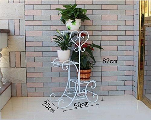 DFHHG® Porte-fleurs, grille en fer étagère en bois à l'intérieur étagères à fleurs en pot pot à fleurs étagère étagère longue 50 * large 25 * haute 82cm Support de fleur américain ( Couleur : Blanc )