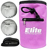 Elite Sportz Equipment Juego de Bolas de Tiza con 2 Bolas de Tiza de Carbonato de Magnesio 100% Natural y Bolsa de Tiza para Escalada, Gimnasia, Levantamiento de Pesas y Más (Rosado)