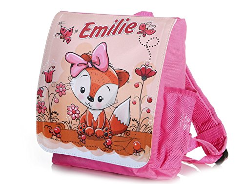 Kinderrucksack Fuchs für Mädchen in pink individuell mit Name Bedruckt, ideal für...