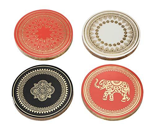Pratende tafels Party Decoraties Mango Hout Drankjes Coasters met Olifant Afrikaanse Thema Décor, 4 Pack, Goud Geschilderd, Gemengd, 10 cm