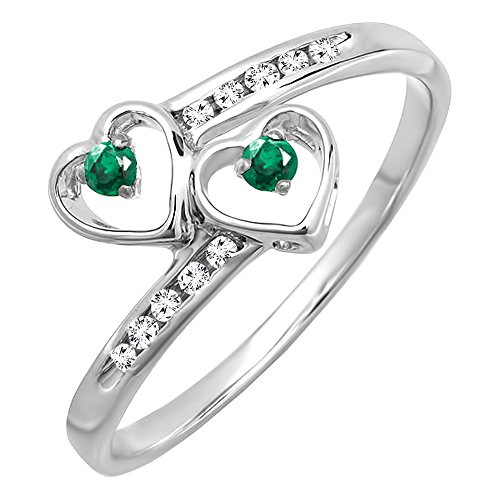 Dazzlingrock Collection Sterling Silver Round Green Emerald & Diamond Ladies Bridal Double Heart Promise Ring, Size 7