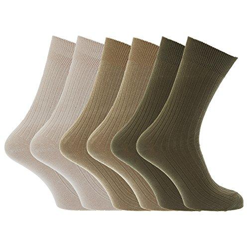 Universaltextilien Herren Strümpfe/Socken, 100prozent Baumwolle, gerippt, 6er-Pack (39-45 EUR) (Beige/Olive/Khaki)