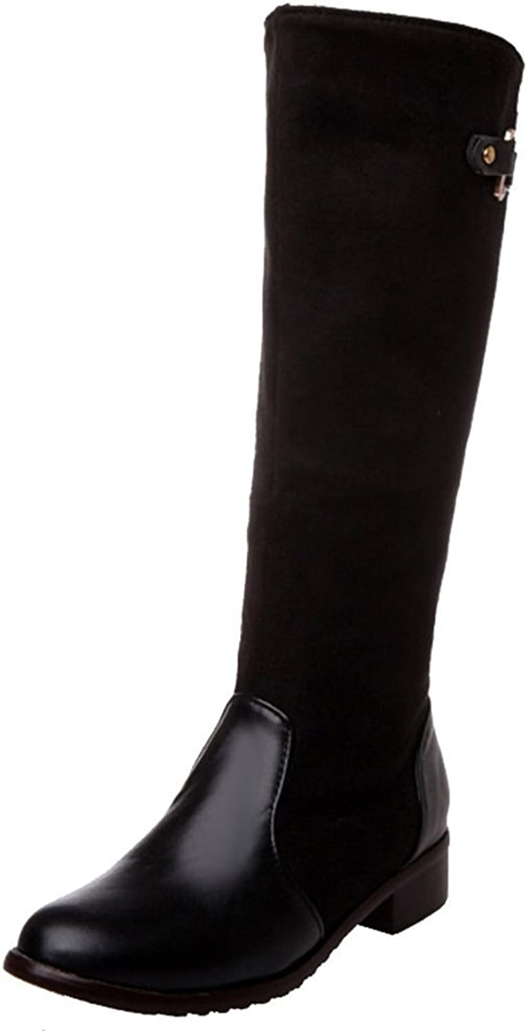 CuteFlats Women Knee-High Boots with Flat Heel 4-colors All Match Boots with Mini Plus