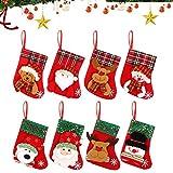 WELLXUNK Calcetín de Navidad,8 pcs Medias de Navidad Bolsa de Regalo,para Bolsa de Regalo de Saco de Navidad para la decoración del árbol Calcetín de decoración navideña para llenar y Colgar