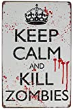 Hioni Keep Calm and Kill Zombies Blechschild Poster