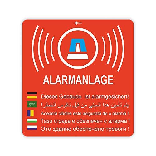 2er Aufkleber-Set Alarmanlage I hin_169 6x6,3 cm I Achtung Gebäude, Objekt ist Alarm-gesichert I für Fenster-Scheibe, Tür I innenklebend wetterfest
