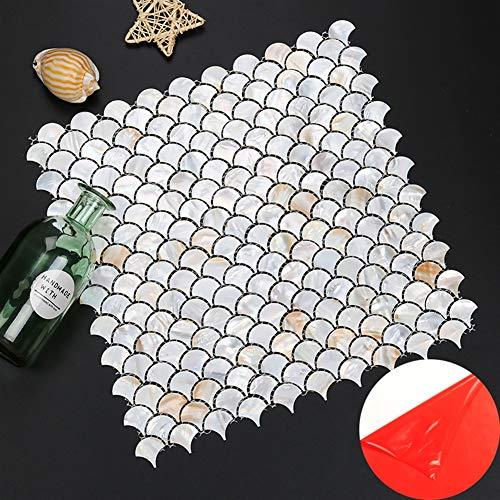Liveinu Perlmutt-Mosaik Fliesen Dekorative Wandfliesen Fliesenrückwand mit Selbstklebenden Fliesen Backsplash Küchenfliesen Mosaikfliesen für Badezimmer, Dusche 10 Stück Perlweiss