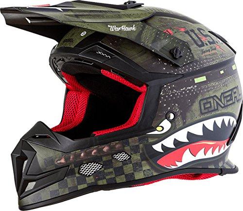 O'Neal Unisex-Adult Off-Road Style 5 SRS Warhawk Helmet BLK/GRN XL (Black/Green,