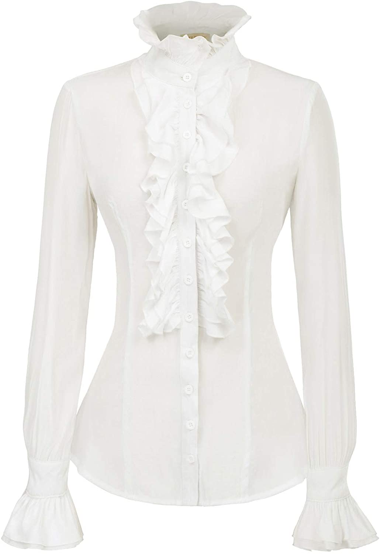 Kate Kasin Women Victorian Gothic Ruffled Lotus Shirt Blouse Tops