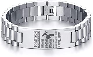 MEALGUET Stainless Steel Love Dad to My Son Bracelets Always Remember You are Braver Inspirational Quote Wristband for Son,8.2""