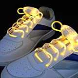 BestOfferBuy Cordones de Zapatos que Brillan Destellos Luz LED Intermitente Color Amarillo