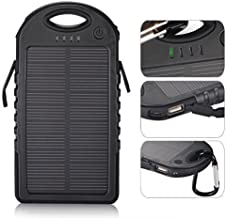 eBoot 5000mAh Solar Panel Charger with 2 USB Ports for iPhones, Windows and Android Phones, Tablets (Black)