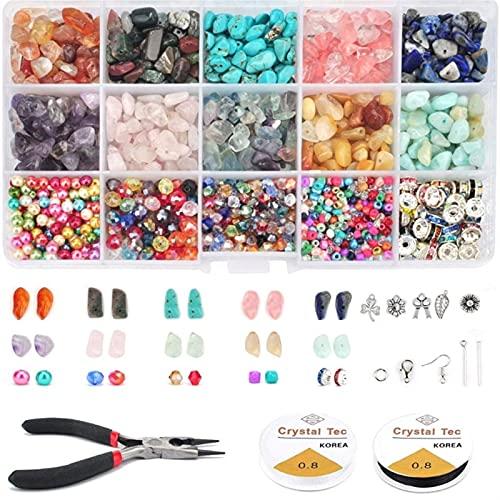 ZLDDE Cuentas de Piedra 1600pcs Chips Irregulares Piedras de Piedra Gemstone Beads Kit Crystal Chip Bead para Collar Pulsera Pendientes Joyas Prepare Unisexo (Color Shown)
