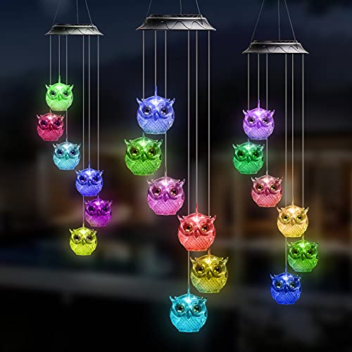 Rizzon Owl Solar Light Solar Butterfly Wind Chime Color Changing Outdoor Solar Garden Decorative LightsGifts for Mom Grandma Birthday Night Party Yard Garden Hanging Decoration(Blue)