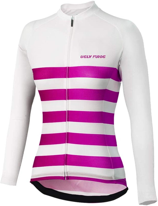 Uglyfrog Women Full Zip Moisture Newest Stripe Designs Long Sleeve Cycling Jersey, Breathable Running Tops  Bike Biking Shirt