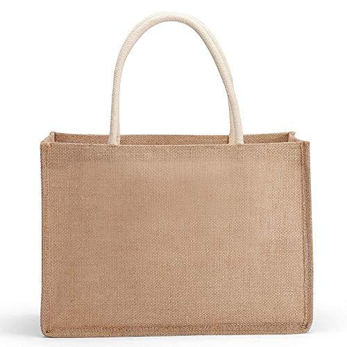 gray-ho Bolsa de lino Bolsas de yute ecológicas Bolsas de hombro Bolsas de compras para mujeres Señoras Ideal para impresión y bordado Personalizado Tamaño: 37 x 27 x 17 cm