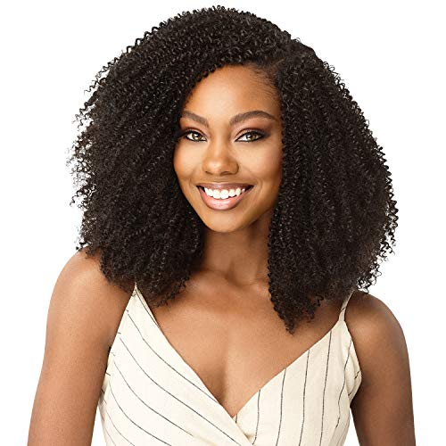 """Outre Human Hair Blend Clip on Weave Premium Purple Pack Big Beautiful Hair Clip-In 4C Coily Fro 10"""" 9Pcs (NBLK)"""