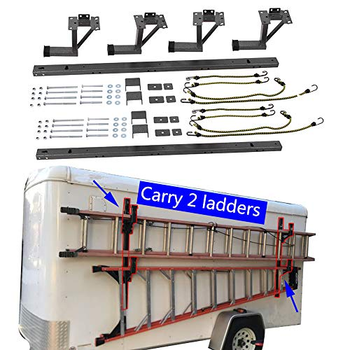 tiewards Ladder Rack for Exterior Side Wall for Enclosed Trailer (Carry 2 ladders)