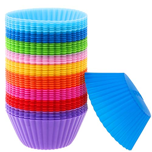 Silicone Muffin Cups, Selizo 54 Pcs Silicone Cupcake Baking Cups Reusable Muffin Liners Cupcake Wrapper Cups Holders for Muffins, Cupcakes and Candies
