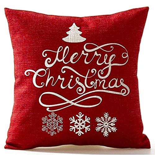 CCAN Copo de Nieve de árbol de Pino navideño Feliz Navidad en Lino Rojo Funda de Almohada Funda de cojín Oficina en casa Sala de Estar Decorativa Cuadrado Blanco + Rojo Creativo y útil Interesting