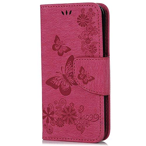 Funda para teléfono móvil S5 Mini, compatible con Samsung Galaxy S5 Mini, de piel sintética, con soporte, cierre magnético, color rosa