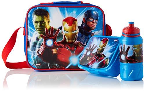 Cerdá - Portameriendas Termico con Botella Infantil y Tupper para Niños de The Avengers - Licencia Oficial Marvel Studios