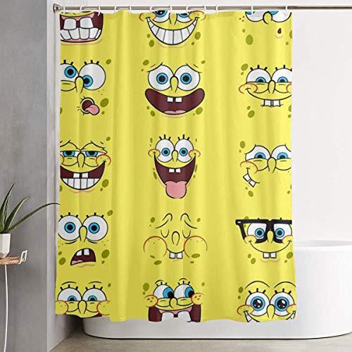 Duschvorhang Spongebob Ausdruck Kunstdruck, Polyester Stoff Badezimmer Dekorationen Sammlung mit Haken 60 X 72 Zoll