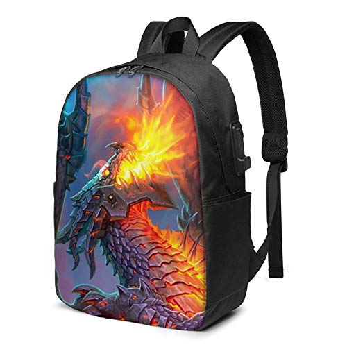 Hdadwy Cool Dragon Quest Lightweight Waterproof Men's and Women's Fashion Sports Backpack, Customized Large-Capacity Backpack, Multi-Functional Travel Backpack with USB Port