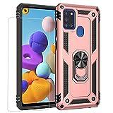 Joytag compatibles para Funda Samsung A21S,Carcasa +Cristal Templado Silicona TPU 360 Grados Anillo Giratorio magnético Soporte Caja del teléfono del Coche-Oro Rosa