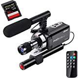 OsxoBear Video Camera Night Vision Camcorder up to 100M/330ft Viewing Distance,IR Video Camcorder with Mini Monocular,External Infrared Lamp,External Microphone,Remote Control,32GB Card(DVC-002)
