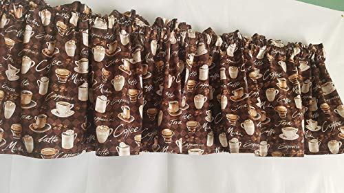 Coffee Themed Valance Curtain, Coffee Patterned Kitchen Curtains, Brown Kitchen Curtains, Espresso, Latte, Java, Cappuccino and Mocha Curtain (41-42 Inches Wide x 15 Inches Long)