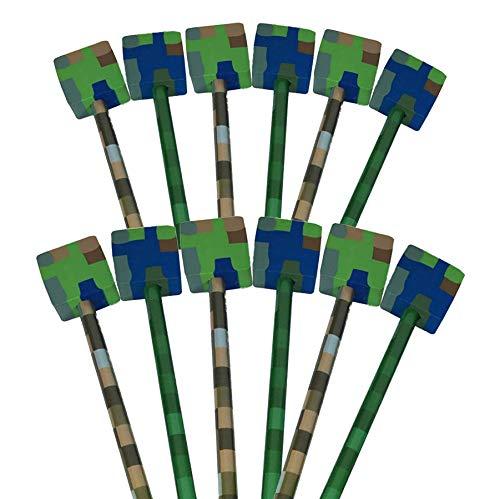 12 x Block Camouflage Pixel-Design, Bleistifte mit Aufsatz, Radiergummis Ideal als Partytütenfüller, Schülergeschenke und Geschenke für Kinder