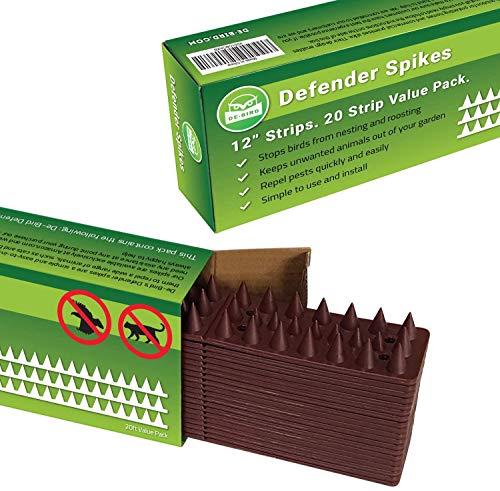 De-Bird: Defender Spikes, Animal Repellent decoys - Outdoor Pest Defender to Keep Off Pigeon, Squirrel, Woodpecker & More. Plastic Deterrent Anti Theft Climb Strips - 20pk [20 Foot]