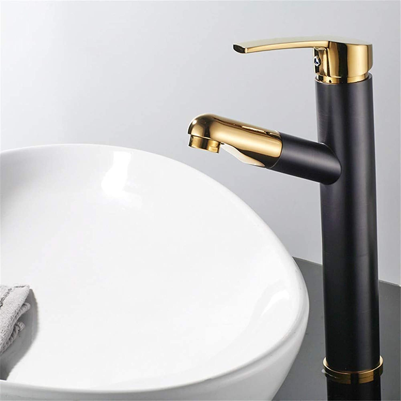 G-FT Hot and Cold Faucet Retro Faucet Copper Faucet Copper Black Plus gold Round Single Hole Bathroom Faucet hot and Cold Water Faucet washbasin washbasin Mixer, B