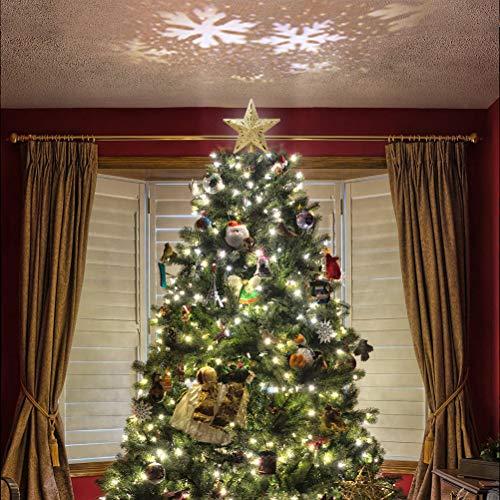 TAIPPAN - Puntale per albero di Natale, a forma di stella, illuminato, 3D, con proiettore rotante a forma di fiocco di neve, Gold, EU Plug