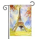 Tvon9k Drapeau de jardin vertical résistant aux intempéries Motif chatons persans, Tour Eiffel à Paris, 12'x18'