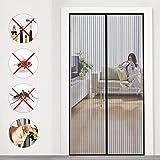 Mosquitera magnética para puerta, protección contra insectos, ideal para puertas de balcón, salón y terraza, puerta de terraza, montaje fácil sin taladrar, color negro