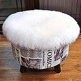Kaihong - Alfombra de pelo largo sintético de calidad superior, imitación de piel de cordero, con un tamaño , para utilizarse como alfombra de cama o sofá, poliéster, Redondo blanco, 45 x 45 cm