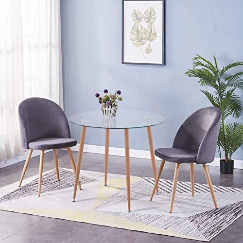 GOLDFAN Esstisch mit 2er Sessel Glas Tisch Rund und 2 Grau Samt Stuhl Wohnzimmertisch und Lounge Sessel