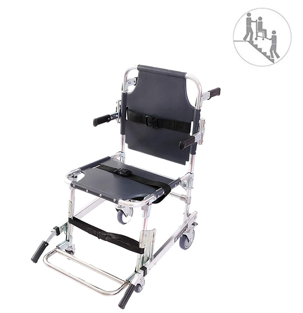 グレートオーク混乱させるフラッシュのように素早く階段椅子EMS緊急4輪救急車消防士の避難医療輸送チェア患者拘束ストラップ付き350ポンドの容量